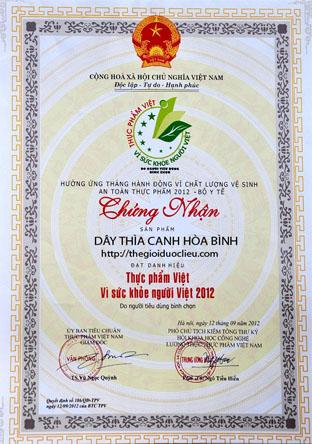 Gấy chứng nhận chất lượng cảu Ủy ban tiêu chuẩn thực phẩm Việt Nam