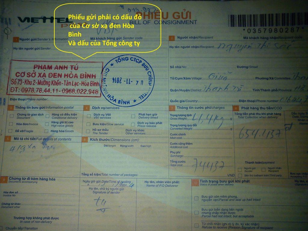 Phiếu gửi cây xạ đen bằng dịch vị Viettel Post