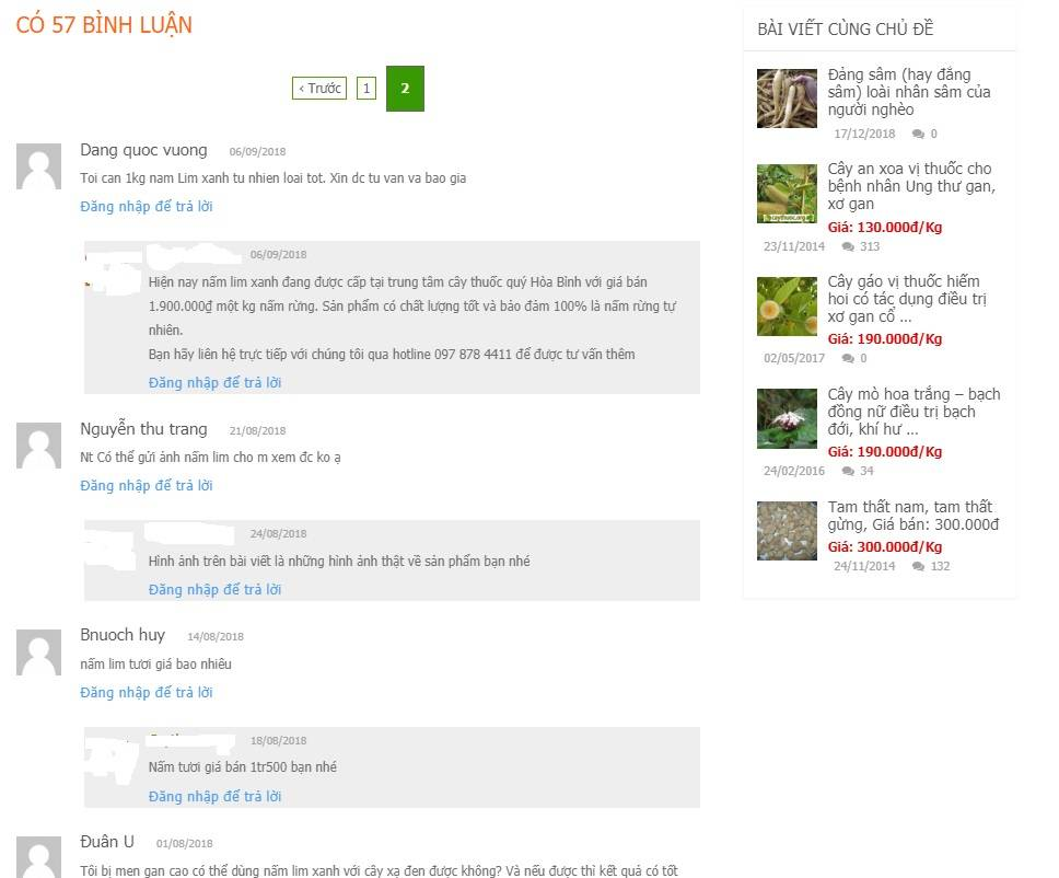 Bình luận về nấm lim xanh giá bao nhiêu tiền 1kg