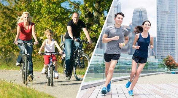 Đạp xe, chạy bộ để tăng cường sức khỏe